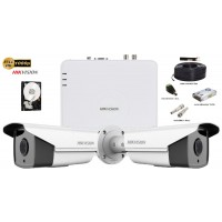 Kit complet supraveghere Hikvision 2 camere 1080p Full HD,IR 80m
