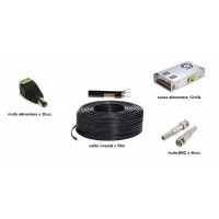 Kit accesorii instalare pt 2 camere, 50m cablu COAXIAL