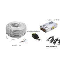 Kit accesorii instalare pt 2 camere, 50m cablu UTP
