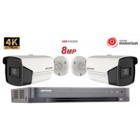 Sistem supraveghere video Hikvision 2 camere, Zoom Motorizat, Lentila Varifocala 8MP(4K), IR 80m