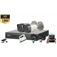 Kit supraveghere video Dahua  2 camere HD, IR20M, HDD 500 GB