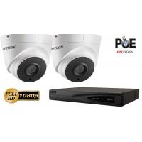 Sistem supraveghere video IP Hikvision 2 camere de interior,2MP Full HD 1080p,IR 30m