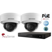 Sistem supraveghere video Hikvision 2 camere IP AcuSense,SD-card rezolutie 4MP (2K) IR 30M