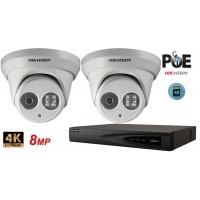 Sistem supraveghere video Hikvision 2 camere IP de interior,Ultra HD 8MP(4K),SD-card,IR 30m