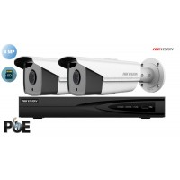 Sistem supraveghere video Hikvision 2 camere IP de exterior, 4MP(2K), SD-card, IR 80m