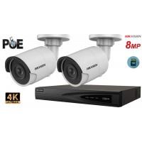 Sistem supraveghere video Hikvision 2 camere IP de exterior 8MP(4K), SD-card, IR 30m