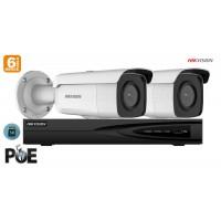 Sistem supraveghere video Hikvision 2 camere IP de exterior, 6MP(3K), SD-card, IR 80m