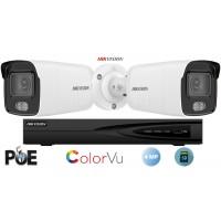 Sistem supraveghere video Hikvision 2 camere ColorVU IP, 4MP(2K), SD-card, IR 30m