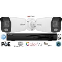Kit complet supraveghere video Hikvision 2 camere IP ColorVU 4MP(2K), SD-card, IR 30m