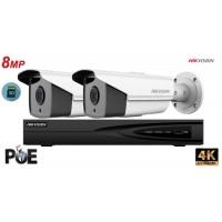 Sistem supraveghere video Hikvision 2camere IP de exterior, 8MP(4K), SD-card, IR 50m