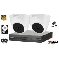 Kit complet supraveghere video Dahua 2 camere FullHD, IR 20M