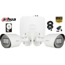 Kit complet supraveghere Dahua 2 camere, 2MP Full HD 1080P, IR 30m