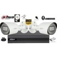 Kit complet supraveghere Dahua 2camere Microfon Incorporat, 2MP Full HD 1080P, IR 30m