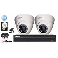 Kit complet supraveghere video Dahua 2 camere 4MP(2K), IR 30M