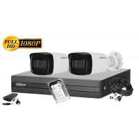 Kit supraveghere DAHUA 2 camere 1080P, IR 80, HDD 500GB