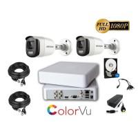 Kit complet supraveghere video Hikvision 2 camere ColorVU, FullHD, IR 20M