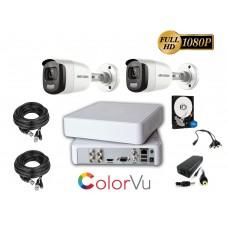 Kit supraveghere video Hikvision 2 camere ColorVU - filmeaza color pe timp de noapte, HDD 500GB inclus