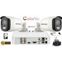 Kit complet supraveghere Hikvision 2 camere ColorVu,IR 20m