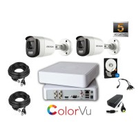 Kit complet supraveghere video Hikvision  2 camere ColorVU  5mpx 2k IR 20M, HDD 1 TB