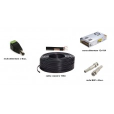 Kit accesorii instalare pt 4 camere, 100m cablu COAXIAL