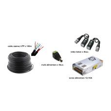 Kit accesorii instalare pt 4 camere, 100m cablu SIAMEZ UTP