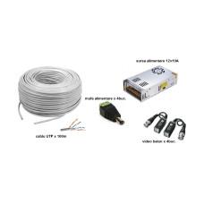 Kit accesorii instalare pt 4 camere, 100m cablu UTP