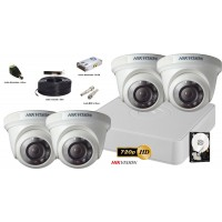 Kit complet supraveghere video Hikvision 4 camere de interior TurboHD, IR 20M