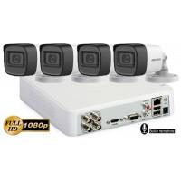 Sistem supraveghere Hikvision 4camere FullHD 1080p, IR30m, microfon incorporat