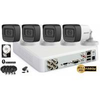 Kit complet supraveghere Hikvision 4camere FullHD 1080p, IR30m, microfon incorporat