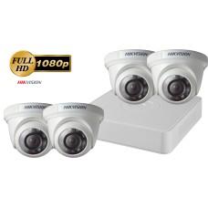 Sistem supraveghere video 4 camere de interior Hikvision 2MP FullHD, IR 20M