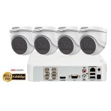 Sistem supraveghere video 4 camere de interior Hikvision 2 MP FullHD , IR 30M, microfon incorporat