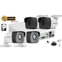 Kit complet supraveghere Hikvision 4camere FullHD 1080p, IR30m