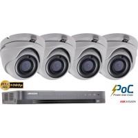 Sistem supraveghere Hikvision 4 camere de interior PoC 2MP FullHD, IR 20M