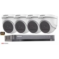 Sistem supraveghere Hikvision 4 camere de interior Turbo HD 8MP(4K), IR 30m