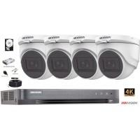 Kit complet supraveghere Hikvision 4 camere de interior Turbo HD 8MP(4K), IR 30m