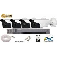 Kit complet supraveghere Hikvision 4 camere de exterior POC TurboHD 2MP 1080p, IR 80m