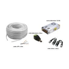 Kit accesorii instalare pt 4 camere, 50m cablu UTP