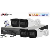 Kit supraveghere DAHUA 4 camere FullHD,-STARLIGHT, IR30, HDD 500 GB INCLUS