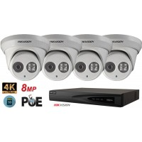 Sistem supraveghere video Hikvision 4 camere IP de interior,Ultra HD 8MP(4K),SD-card,IR 30m