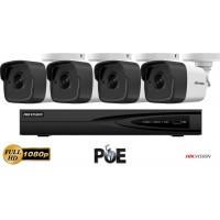 Sistem supraveghere video Hikvision 4 camere IP de exterior,2MP Full HD 1080p,IR 30m