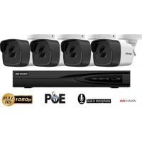 Sistem supraveghere Hikvision 4 camere IP de exterior,2MP Full HD 1080P,Microfon incorporat,IR 30m