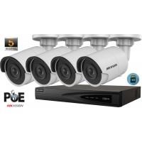 Sistem supraveghere video Hikvision 4 camere IP de exterior,5MP(2K+),SD-card,IR 30m