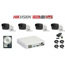 Kit supraveghere HIKVISION 4 camere, 5 MP, IR 20 M, HDD 500 GB