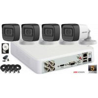 Kit complet supraveghere video HIKVISION 4 camere 5 MP, IR 20 M, HDD 500 GB