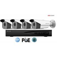 Sistem supraveghere video Hikvision 4 camere IP de exterior, 4MP(2K), SD-card, IR 80m