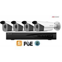 Sistem supraveghere video Hikvision 4 camere IP de exterior, 6MP(3K), SD-card, IR 50m