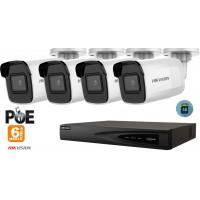 Sistem supraveghere video Hikvision 4 camere IP de exterior 6MP(3K), SD-card, IR 30m