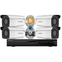 Sistem supraveghere video Hikvision 4 camere IP de exterior, 6MP(3K), SD-card, IR 80m