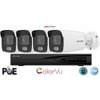Sistem supraveghere video Hikvision 4 camere IP ColorVU 4MP(2K), SD-card, IR 30m