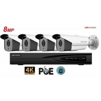 Sistem supraveghere video Hikvision 4camere IP de exterior, 8MP(4K), SD-card, IR 50m